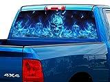P492 Flaming Skull Tint Rear Window Decal...