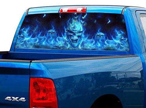 P492 Flaming Skull Tint Rear Window Decal Wrap Graphic Perforated See Through Universal Size 65' x 17' FITS: Pickup Trucks F150 F250 Silverado Sierra Ram Tundra Ranger Colorado Tacoma 1500 2500