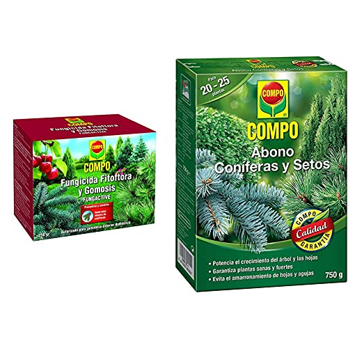 Compo Fungicida Fitóftora Y Gomosis, Preventivo Y Curativo, Apto Para Jardinería Exterior Doméstica + 750 G Abono Setos...