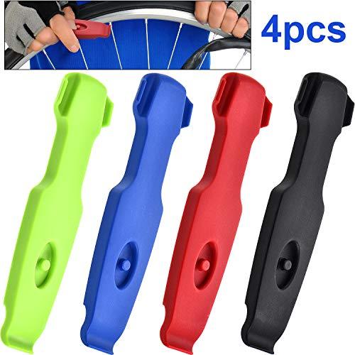 4 Piezas Palancas de Neumático de Bicicleta Herramienta de Cambiar Neumáticos de Bicicleta Herramienta de Reparación de Nneumáticos de Ciclismo de Plástico, 4 Colores
