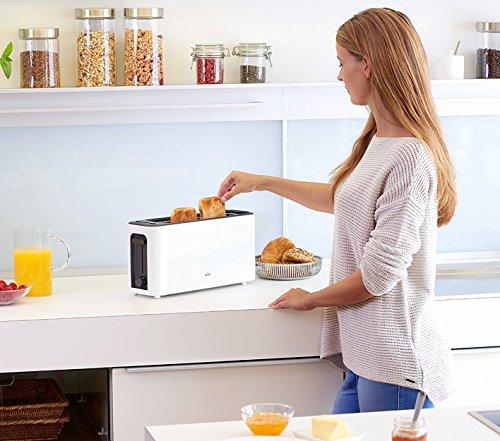 Braun-HT-3110-WH-Toaster-Langschlitz-Extrabreite-Toastkammer-Herausnehmbare-Kruemelschublade-Aufwaerm-und-Auftaufunktion-7-Roestgrade-Separater-Broetchenaufsatz-Weiss
