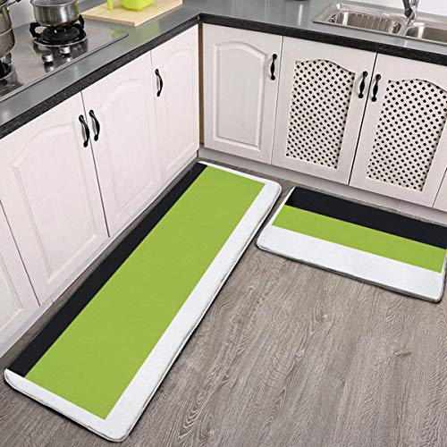 MGVDSES 2 Pcs Kitchen Rug Set, Color Block Lime Green Gray Black and White Non-Slip Kitchen Mats and Rugs Soft Flannel Non-Slip Area Runner Rugs Washable Durable Doormat Carpet