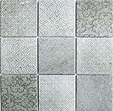 Piastrelle a mosaico vintage in ceramica grigio MOS22-CELLO