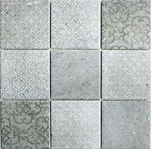 Azulejos de mosaico retro vintage, cerámica, gris, MOS22-CELLO_F, 10 piezas