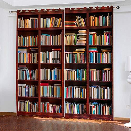 Verdunkelungsvorhang für Kinderzimmer Bücherregal Schlafzimmer Wohnzimmer Blickdichte Vorhänge Wärmeisolierung Digitales Drucken 2 Stück (2 x 140cm x 250cm)