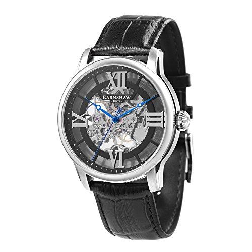 Thomas Earnshaw Longitude ES-8062-01 mechanisch herenhorloge, zwarte wijzerplaat met skeletweergave, zwarte lederen armband