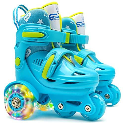 Verstellbar Rollschuhe für Kinder,mit Leuchtenden Rädern Roller Skates Bequem und atmungsaktiv Quad Skates für Mädchen,Anfänger