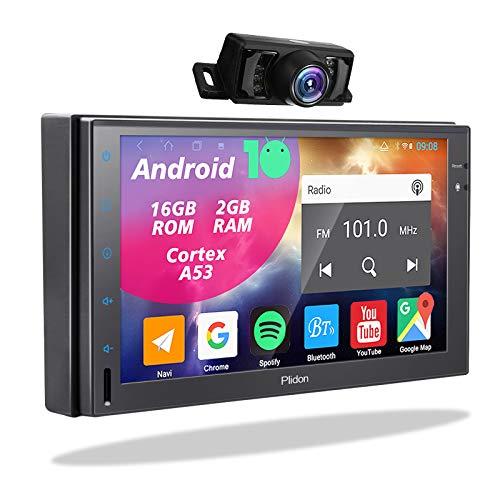 2 Din Display Radio Android - Doppel Din Autoradio mit Rückfahrkamera Navi Bluetooth Freisprecheinrichtung 7Zoll Touchscreen Bildschirm Moniceiver 2Din GPS Navigation Unterstützt FM/AM Wifi USB TF SWC