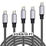 WUYA iPhone Charger, MFi Certified Lightning Cable 5 Pack (3/3/6/6/10FT) Nylon Woven with Metal Connector Compatible iPhone Xs Max/ X/8/7/Plus/6S/6/SE/5S iPad - Black&White