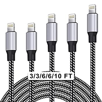 WUYA iPhone Charger MFi Certified Lightning Cable 5 Pack  3/3/6/6/10FT  Nylon Woven with Metal Connector Compatible iPhone Xs Max/X/8/7/Plus/6S/6/SE/5S iPad - Black&White
