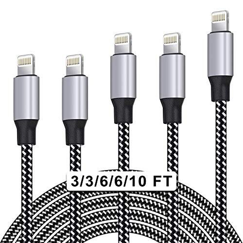 WUYA iPhone Charger, MFi Certified Lightning Cable 5 Pack (3/3/6/6/10FT) Nylon Woven with Metal Connector Compatible iPhone Xs Max/X/8/7/Plus/6S/6/SE/5S iPad - Black&White