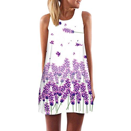 iYmitz Damen Minikleid Vintage Boho Ärmelloses Sommerstrand Gedruckt Kurzes Blumenkleid T-Shirt Tops Kleider Faschings Frauen Kostüme