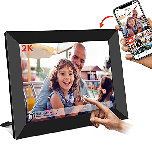 FRAMEO Digital Picture Frame WiFi 10 Inch 2048x1536 2K FHD IPS Touch Screen 16GB Storage, Auto-Rotate, Wall Mountable Digital Picture Frame Easy to Share Photos or Videos via Free Frameo APP