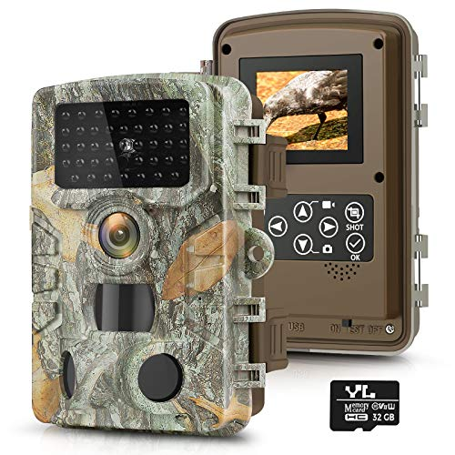 """Trail Game Camera 20MP 1080P with 32GB SD Card, Waterproof Hunting Camera w 3 Infrared Sensors 2.4"""" LCD 47pcs No Glow Night Vision IR LEDs , 120° Detection Motion Activated Range"""