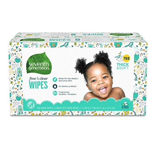Seventh Generation Baby Wipes, Free & Clear Unscented and Sensitive, Gentle as...