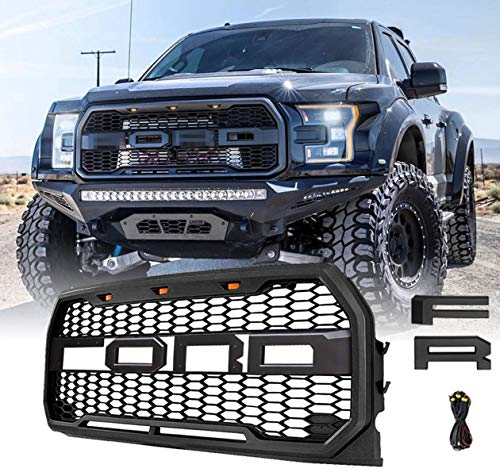 Front Grill For F150 Fd F-150 2015 2016 2017 Raptor Style Grille Matte Black Including XL, XLT, LARIAT, King Ranch, Platinum and Limited, Amber LED Lights Matte Black