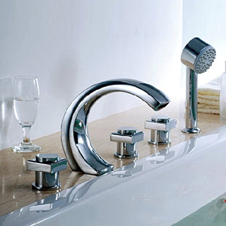 Kupfer 5-Loch Bad Wasserhahn mit fünf Stück Deckel Split-hei und kalt Wasserhahn lange Tank Seitenbrausen-A