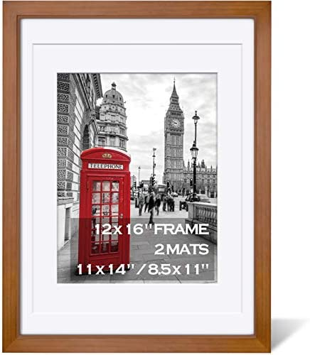 12x16 Picture Frames Wood Display Pictures 11x14 or 8 5x11 Diplomas with Mat or 12x16 Frame product image
