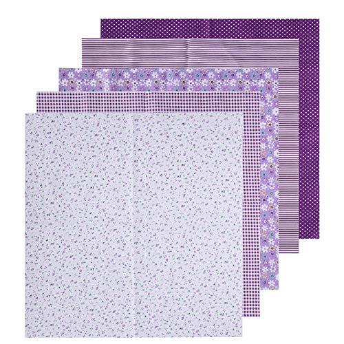 2 Set Squares Quilting-Stoff, vorgeschnittener Stoff, Baumwollstoff Leinwandbindung Drucktuch, Quilting-Stoffbündel-DIY Handgemachtes Nähzubehör 50x50cm(Lila)