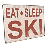 OMSC Eat Sleep Ski Metal Sign, Sport, Cabin,...