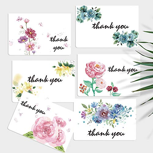 Hotcinfin Holiday Cards,Bulk Thank You Cards-36 Gift Cards Assortment Box, Seasons Greeting Blank Cards and Envelopes, 6 Watercolor Floral Note Cards for Business, Wedding, Baby Showers, All Accasions