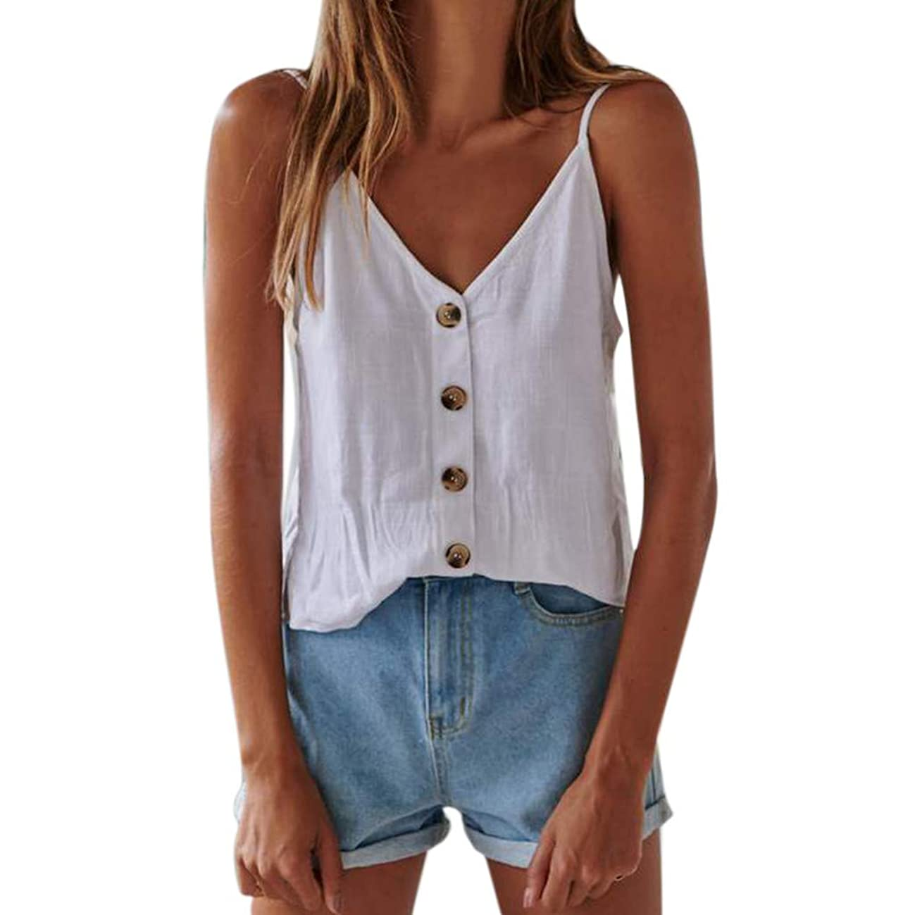 Tronet Summer Casual Women Button Sleeveless Solid Top Vest Tank Shirt Blouse Tops