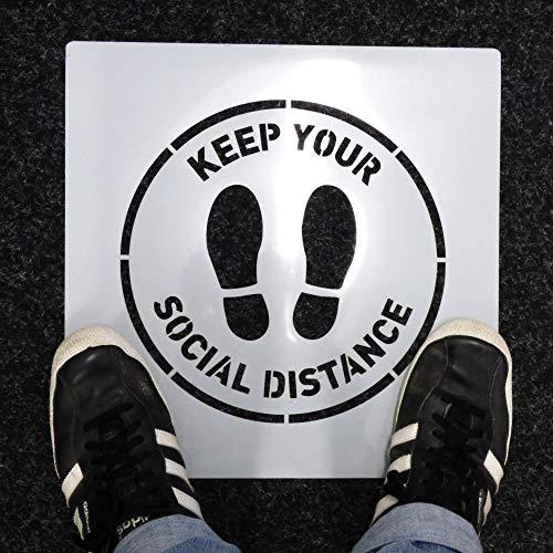 Halten Ihr Social Entfernung Schablone - Fuß Drucke & Text Zeichen - Interieur Außen Verwendung - Laden,Öffentliche Bereiche,Wiederverwendbar Langlebig Boden Markieren,Malerei - Diverse Größe Optionen