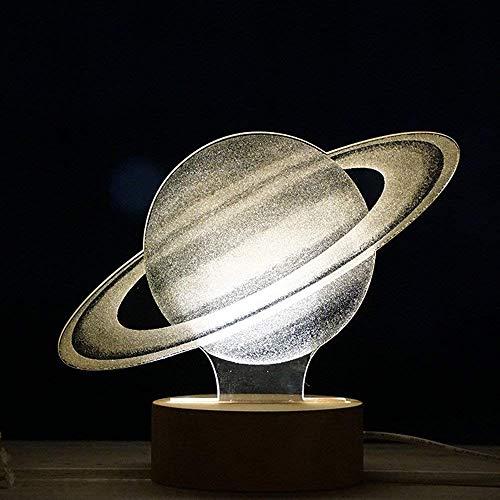 3D LED optische Illusion Lampe Nachtlicht, SUAVER USB 3D Schreibtischlampe LED kreative Lampe Acryl Panel & Holz Basis Dekoration Licht für Weihnachten Geburtstag Geschenke (Saturn)