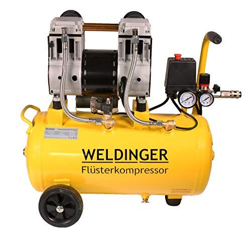WELDINGER Flüsterkompressor FK 90 plus ölfrei 980 W Luftabgabe 120 l (Druckluftkompressor) 5 Jahre Garantie