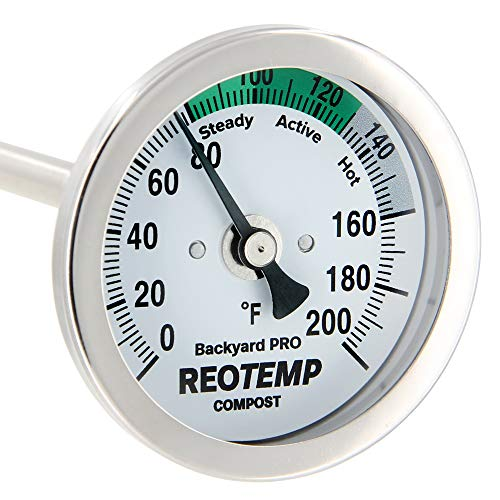 REOTEMP Backyard Pro Compost Thermometer, 36 Inch Stem, with PDF Composting Guide (0-200 Fahrenheit)