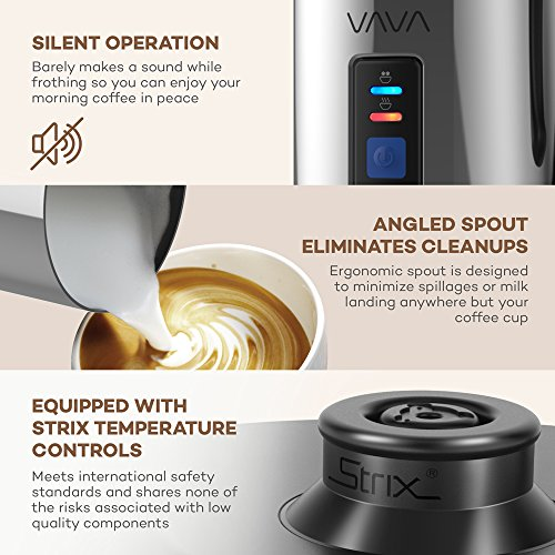 Milk Frother, VAVA Electric Milk Steamer Liquid Heater with Hot or Cold Milk Functionality (Silent Operation, Strix Temperature Controls, Non-Stick Coating, Milk Level Indicator, and FDA Approved)