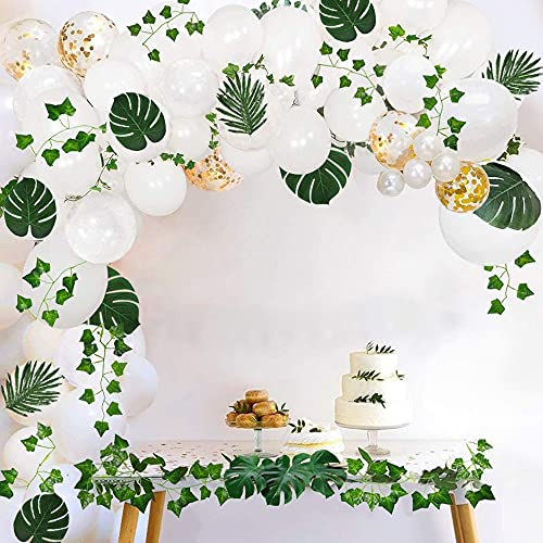 Balloon Garland Kit, Baby Shower Decorations Neutral with White Gold Confetti Balloon Garland, Party Wedding Birthday Balloons Decorations, Ivy Leaf Garland Vines Decor for Zoo, Jungle Theme.