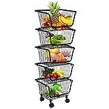 DnKelar cestas de frutas con ruedas, cesta de alambre de metal apilable, cesta de frutas, contenedor de almacenamiento, organizador de cocina, cesta apilable extraíble (5)