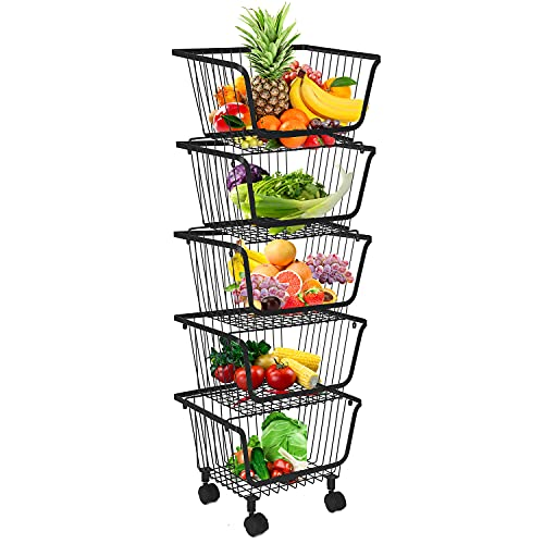 DnKelar Obstkörbe mit Rädern, stapelbarer Metalldrahtkorb Obstkorb, Aufbewahrungsbehälter Küchen Organizer Entnehmbarer Stapelkorb für Küche Vorratsschrank Schlafzimmer Badezimmer
