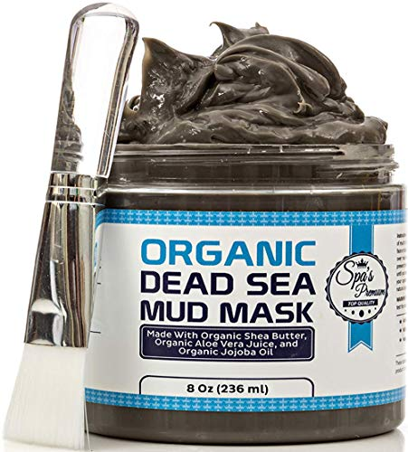 Spa's Premium Organic Dead Sea Mud Mask 8oz and Free Face Brush