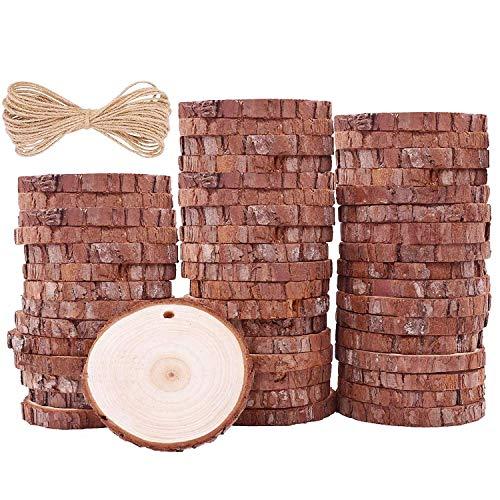 Rodajas de Madera Círculos 7-8cm 50pcs TICIOSH Discos de Madera Rebanada 20m Cuerda de Cáñamo Maderas Naturales Perforado Con Corteza de Árbol Para Manualidades