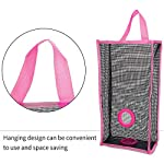 RONRONS-3-Pieces-Rectangle-Grocery-Bag-Holder-Foldable-Nylon-Hanging-Mesh-Garbage-Bag-Dispenser-Breathable-Washable-Organizer-for-Kitchen-Home-Bathroom-with-3-Hooks-Free