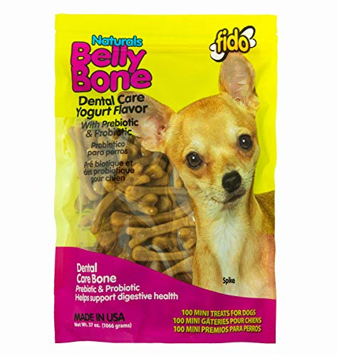 Fido Dental Care Belly Bones for Dogs, Yogurt Flavor - 100 Mini Treats - Safely Digestible Chew That Promotes Plaque and Tartar Control-Helps to Support Your Dog's Digestive Health