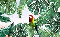 オウムの緑の植物-3D壁紙ポスター カスタム大規模な壁紙の壁紙3Dテレビの背景リビングルームの写真の壁紙3Dルームの壁紙-450X300cm (177X118inch)