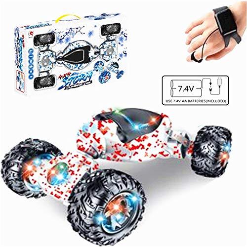 RC Stunt Auto, 1:12 2,4 GHz 4WD 10CH Doppelseite Geste Sensor Uhr Steuerung Deformable Elektroauto All-Terrain RC Auto mit LED-Licht für Kinder Blau Mecanum Wheel