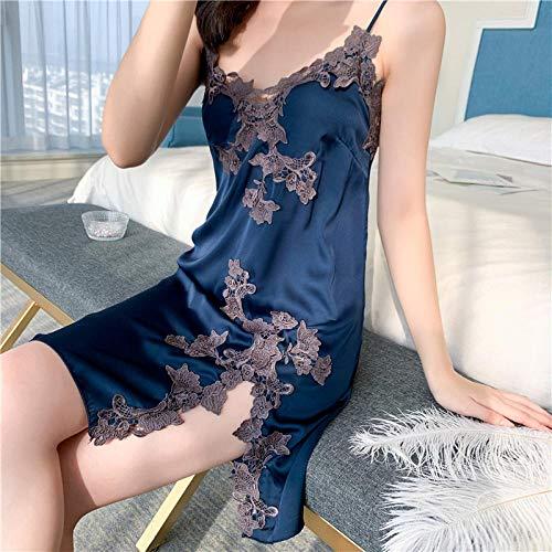 ASADVE Pijamas camisón Verano Mujer Albornoz Vestido Pijamas Familiares-Azul Marino_L