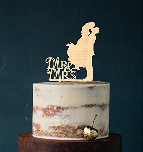 Cake Topper, Mr & Mrs, Farbwahl - Tortenstecker, Tortefigur Acryl, Tortenständer Etagere Hochzeit Hochzeitstorte Kuchenaufstecker (Holz)