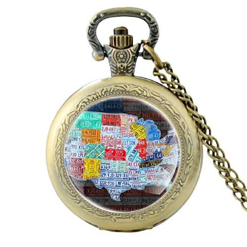 Reloj de bolsillo de cuarzo negro con diseño de mapa de los Estados Unidos de la vendimia de los Estados Unidos y las mujeres de cristal con