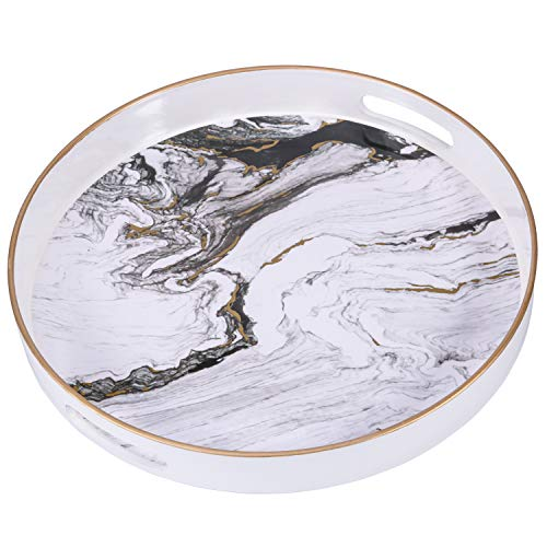 Zosenley Round Decorative Tray, Marbling Plastic Tray with Handles, Modern Vanity Tray and Serving Tray for Ottoman, Coffee Table, Kitchen and Bathroom, Size 13', White
