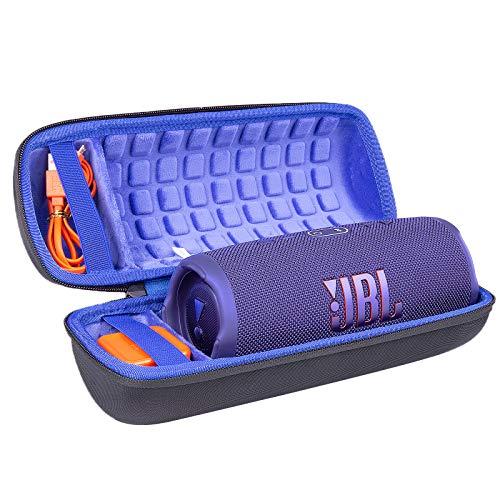 Hart Reise Schutz Hülle Etui Tasche für JBL Charge 4 / JBL Charge 5 Tragbarer Bluetooth Lautsprecher von co2CREA (Schwarz Hülle/Innen Blaue Lagune)