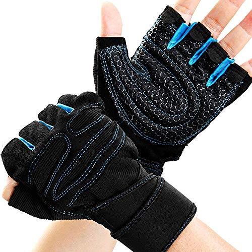 Lazzon Sporthandschuhe mit Handgelenkschutz Fitness Handschuhe rutschfest Atmungsaktiv für Krafttraining Crossfit Trainingshandschuhe Damen Herren