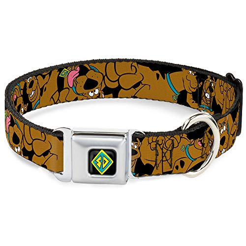 Buckle-Down Seatbelt Buckle Dog Collar - Scooby Doo Stacked CLOSE-UP Black - 1.5