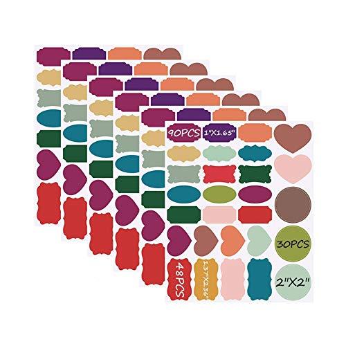 Xstar Tafeletikett Aufkleber, selbstklebende 168 farbige Tafelaufkleber Wasserdichtes wiederverwendbares kleines Tafelaufkleber-Etikett für Heim- und Büroorganisatoren Tafeletikett