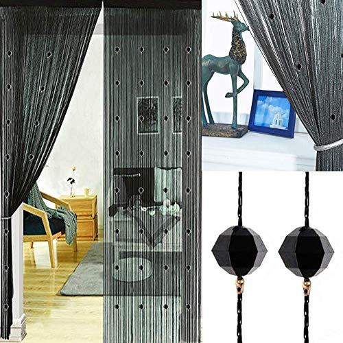 Aizesi - Tenda a fili con funzione di zanzariera, da usare come divisorio per ingresso o tenda a pannello per finestra, 99 x 199,4 cm, Poliestere, Nero , 90 x 200 cm
