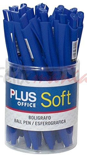 Bote 25x Bolígrafos Plus Soft Tinta Fluida Viscosa Retráctil Trazo 0,7mm Azul
